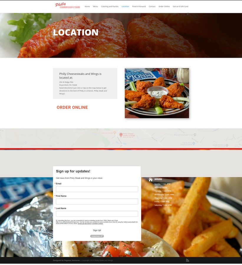 As the owner of the popular Philly Steak and Wings in Limerick Township, just outside Royersford Pennsylvania planned to sell the restaurant he called on Pegasus Ventures to update the website  to ready the restaurant for sale.